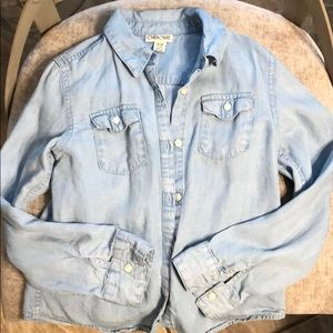 Girls denim long sleeve shirt 7/8